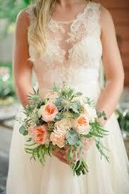 Very romantic backyard wedding decor ideas Moss Garden Rose And Thistle Bouquet Wedding Chicks Soft And Romantic Backyard Wedding