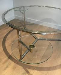 chrome coffee table with removable round glass shelves 1970s 7