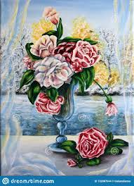 Beautiful Flower Designs For Glass Painting Roses Flowers In A Glass Painting Oil On Canvas Stock