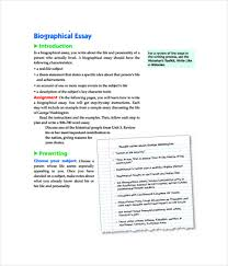 essay templates word pdf documents  biographical essay template