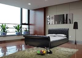 black upholstered sleigh bed. Delightful Upholstered Sleigh Bed With Black Leathered Headboard
