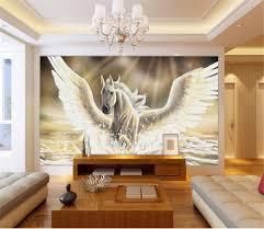 Custom Size 3d Foto Behang Woonkamer Muurschildering Wit Fly Paard