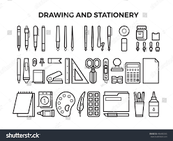 office drawing tools. office stationery and drawing tools line icons pencil pen marker paintbrush