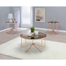 smoky glass and rose gold coffee table