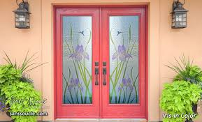 custom glass doors iris hummingbirds color