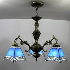 european fashion bronze finished blue stained glass tiffany 3 light chandelier