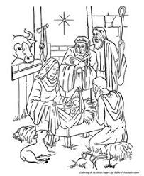 Small Picture Printable Nativity Coloring Page to cut out and make your own