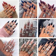 <b>docona</b> Vintage Silver Carved Geometric Knuckle Ring Set for ...