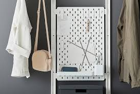 White peg boards Bathroom SkÅdis White Pegboard With Clips Hooks Straps And Shelves Holding Many Items Woodcraft Wall Organization Pegboards Accessories Ikea