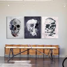 gothic skull set of 3 canvas print home
