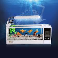 Led Light Aquarium Multifunction Clock Fish Bowl Creative