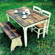 table 2 chairs and bench. childs farmhouse table set and 2 benches $200 (chairs shipping extra) chairs bench a