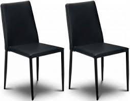 faux leather dining chair black: julian bowen jazz black faux leather dining chair stacking chair pair