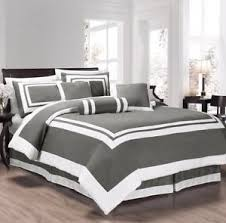 hotel style comforter.  Hotel Image Is Loading ChezmoiCollectionCaprice7PieceGrayWhiteSquare With Hotel Style Comforter B
