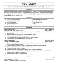 Resume Template For Accountant Accounting Assistant Resume Example