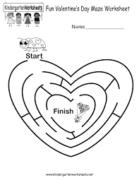fun valentines maze worksheet printable fun worksheet for kindergarten bosschens on motion worksheet