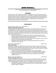 Restaurant Resume Sample 7 Examples For Management Manager Example