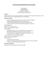 Inventory Management Specialist Resume Frighteningtory Specialist Resume Objective Warehouse Supervisory 10