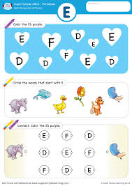 Here you will find a beautiful selection of free printable pdf activities to teach students to print and write the letter a. Letter Recognition Phonics Worksheet E Uppercase Super Simple
