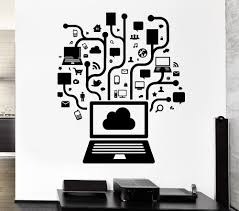 wall stickers for office. Removable Vinyl Wall Decal Computer Online Social Network Gamer Internet Teen PC Mural Sticker Office Room Home Decoration-in Stickers From For
