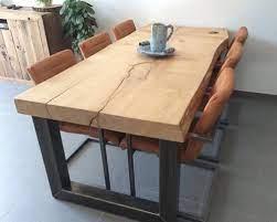 china custom oak live edge slab table