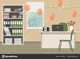 decorated office. Workplace Office Worker Decorated His Birthday Desk Cabinet Green Chairs \u2014 Stock Vector