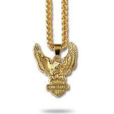 whole 18k real gold plated men necklace with eagle pendant jewelry luxury hip hop neck jewelry free 75cm link chain for men gift charms for bracelets