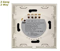 white glass frame touch sensitive panel light switch on off 3 gang Three-Way Wiring Multiple Lights at Wiring Diagram Three Way Touch Light