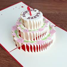 2017 New Design Happy Birthday Greeting Card Big Birthday Cake Shape