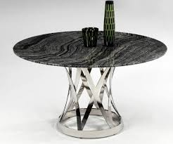 Marble Top Dining Table Round Shiny Marble Top And Chrome Plate Spiral Outline Contemporary