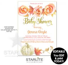 Fall Invitation Fall Baby Shower Invitation Pumpkin Leaves Editable Instant Download