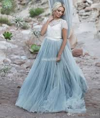 Light Blue Wedding Dress With Sleeves Light Blue Firaly Beach Wedding Dresses White Lace Sheer Op Short Sleeve Tulle A Line Two Toned Bridal Dresses Colored Wedding Gowns 2018