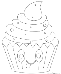 Small Picture kawaii cupcake with stars Coloring pages Printable