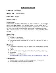 Voki lesson plan (5 Senses)