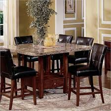 5 Piece Kitchen Dining Set Square Marble Top Counter Height Table and 4  Chairs