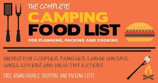Camping Menu Template The Complete Camping Food List For Planning Packing And