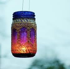 Boho Henna Outdoor Lighting, Hand Painted Mason Jar Lantern, Hanging Lantern  with Peacock Blue Glass and Pearl White Design, Gypsy Decor