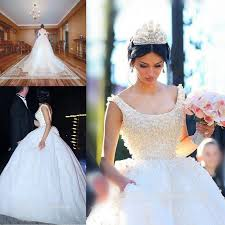 Princess Designs Online New Design 2016 Full Lace Wedding Dresses Ball Scoop Pearls