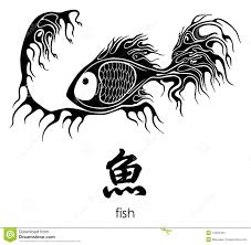 иероглиф рыб значит Tattoo иллюстрация вектора иллюстрации