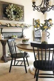 farmhouse style dining room love the lemon plant in the white pitcher as spring and