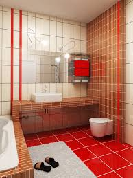 Red Floor Tiles Kitchen Bathroom Tiles Red And White