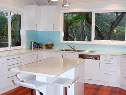 Mobile Kitchen Island Bench White Cabinets Blue Glass Backsplash Recessed Lighting Bar Stool