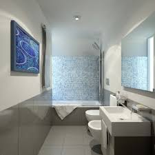 Bathroom Set Ideas With Contemporary Blue And White Mosaic Tile ...