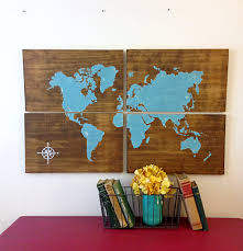 World Map Home Decor Large Wooden World Map Aqua Rustic World Map Map Art Home