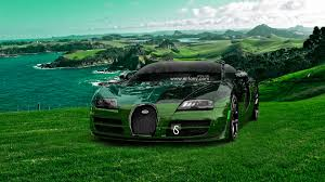 bugatti veyron crystal nature sea front car