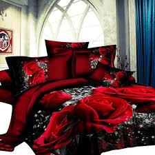 hiqueen 4 pcs 3d big red rose fl bedding sets wedding duvet cover sheet pillow cases
