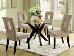 stylish upholstered chairs also white rug plus modern round dining table with glass top and
