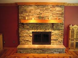 Stone Fireplace With Beautiful Mantel Decorating Ideas : Living Room Design  With Stone Fireplace Insert Also