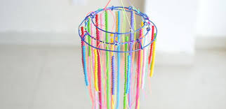 diy beaded chandelier how to make hanging decoration with colorful acrylic beads