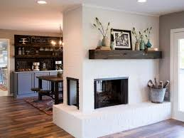 Photo 3 of 11 Double-Sided Beauty. White Brick Fireplace With Wood Mantel  (ordinary Brick Fireplace With